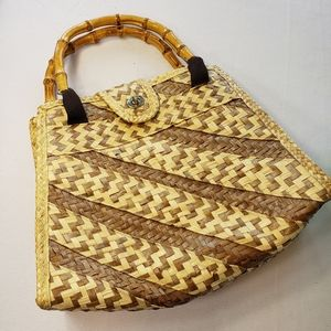 Handbags - BOHO Straw Bamboo Handle Satchel Festival Bag